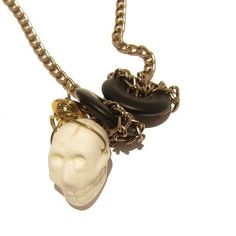 Magnesite Necklace 01 Chain Agate Black White Skull by sheilasatin, $65.00