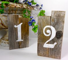 Rustic Wedding Table Numbers Handpainted on by BluePoodleMarket