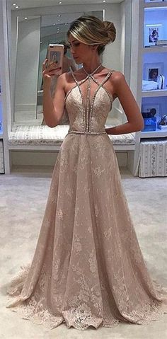sexy long prom dress, open back v neck homecoming dress, lace evening dress, 273