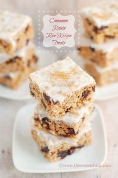 The Sweet Chick: Cinnamon Raisin Rice Krispie Treats #food #recipes