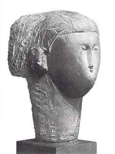 Amedeo Modigliani Tête (Testa) 1910-11 scultura in arenaria altezza 51 cm Collezione privata
