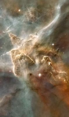"""Inside the #CarinaNebula: Cropped from original 465 mb tif image. A towering """"mountain"""" of cold hydrogen gas laced with dust is the site of new star formation in the Carina Nebula (NGC 3372). The great gas pillar is being eroded by the ultraviolet radiation from the hottest newborn stars in the nebula. This portion of the Carina Nebula is home to some of the most intense star formation in the Milky Way galaxy. Credit: NASA/Hubble"""