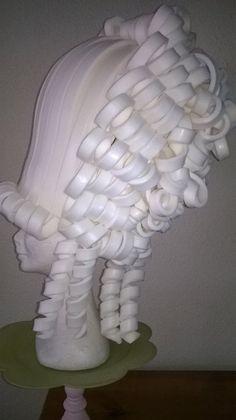 Marie Antoinette foam wig from the side made by Lady Mallemour foam design