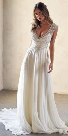 10 Wedding Dress Designers You Want To Know About ? wedding dress designers a line with cap sleeves jeweled beaded top anna campbell Latest Wedding Gowns, Dresses To Wear To A Wedding, Wedding Dress Sizes, Perfect Wedding Dress, Designer Wedding Dresses, Cap Sleeved Wedding Dress, Greek Style Wedding Dress, Event Dresses, Bride Dresses