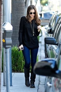 Allison Williams in our signature double neck long sleeve    via whowhatwear