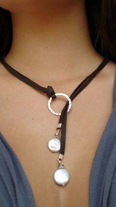 Leather and Sterling silver Necklace, Leather and coin pearls leather lariat…