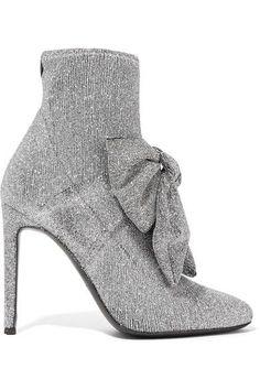 Giuseppe Zanotti - Natalie Embellished Glittered Stretch-knit Sock Boots - Silver