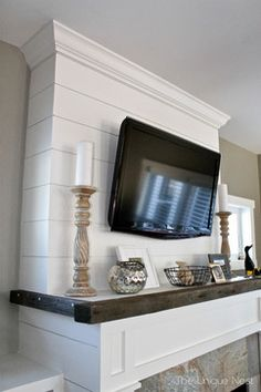 Shiplap Fireplace with Reclaimed Mantle - beach-style - Spaces - Other Metro - Laura Leigh Designs Country Fireplace, Cabin Fireplace, Simple Fireplace, Tall Fireplace, Fireplace Built Ins, Fireplace Cover, Brick Fireplace Makeover, Shiplap Fireplace, Fireplace Remodel