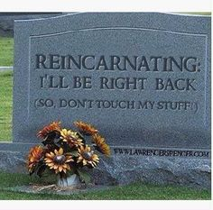 REINCARNATING:  I'll be right back (so don't touch my stuff)