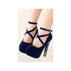 Dark Blue Suede Ankle Strap Platform High Heels ❤ liked on Polyvore featuring shoes, pumps, gold platform pumps, sexy high heel pumps, high heels stilettos, gold shoes and stiletto pumps