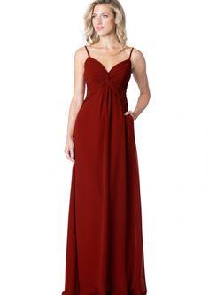 2016 A Line Spaghetti Straps Ruched Red Chiffon Zipper Bridesmaid Dress/ Prom Dresses BC 1619