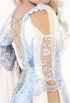 Beautiful Princess Style, Blue Satin, Lace up Dress