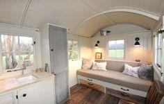 Shepherd Hut interior Glamping, Summer House Interiors, Outdoor Garden Rooms, Gypsy Caravan, Gypsy Wagon, Shepherds Hut, Tiny Spaces, Tiny House Living, House On Wheels