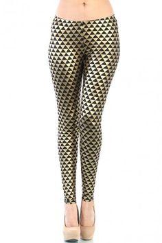 LoveMelrose.com From Harry & Molly | Triangle Metallic Leggings - Gold / Black