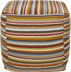 Surya POUF-149 Multicolored Striped Pouf