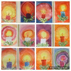 Christmas Paintings, Christmas Art, Christmas Projects, Winter Art Projects, School Art Projects, Primary School Art, 4th Grade Art, Preschool Christmas, Kindergarten Art
