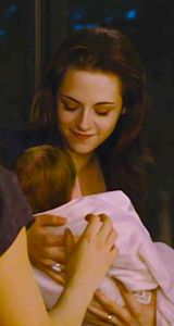 Bella and Renesmee. That little baby turns into (looking like) a 11 year old then a 18 year old in just 7 years!