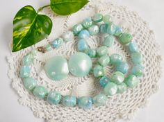 Mint Green Bead Necklace Matching Pierced Button Style Earrings, Marbled Light Green And Blue Vintage Jewelry Set by PrettyShinyThings4U on Etsy