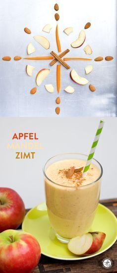 Apfel Mandel Zimt Smoothie - Statt Mandelmilch heißes Wasser und Mandeln. 2 TL Honig, mehr Zimt und etwas Nelkenpulver. Mit vorgebackenen Äpfeln testen, um noch Apfelkuchen-ähnlicheren Geschmack zu bekommen. - Nächstes Mal halbe Menge insgesamt machen