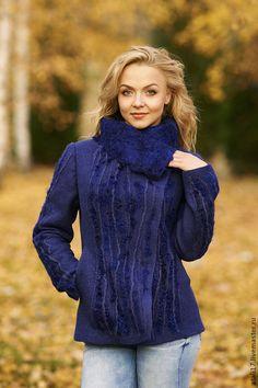 Пиджаки, жакеты ручной работы. Ярмарка Мастеров - ручная работа. Купить Жакет Королевский синий-войлок. Handmade. Жакет из войлока