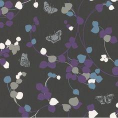 Boutique Butterfly Garden Black/Purple Wallpaper 226010 by Rasch