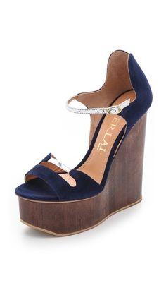 44129aad823 Aperlai Blue Suede Wedge Sandals Blue Sandals