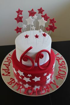 Red & White Star 60th Cake