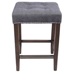 Handmade with special attention to rounded curves, threading and metal nailheads, this Nashville Bar Stool has a cotton/ linen blend upholstered seat to provide soft comfort and durability.