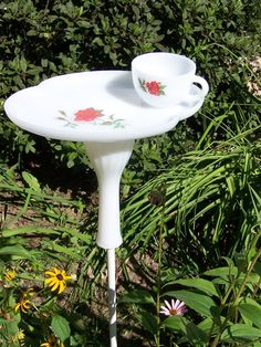 Tea Cup Bird Feeder by ArtOfAlice on Etsy