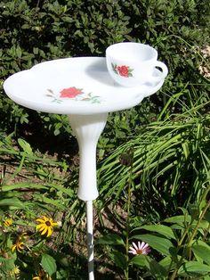 Tea Cup Bird Feeder Bird Bath by ArtOfAlice on Etsy