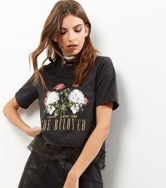 Dark Grey Skulls and Roses Lace Hem T-Shirt | New Look