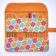 Gold Floral Circular Knitting Needle Holder, Double Pointed Needle Storage Case, Flowers With Polka Dot Contrast Crochet Hook Organizer