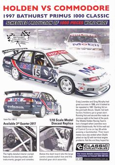 Pre Order 1:18 scale Craig Lowndes and Greg Murphy #15 Holden Racing Team Holden VS Commodore 1997 Primus Bathurst 1000 from Classic Carlectables. Model features opening doors, boot and bonnet to reveal detailed engine. Comes with certificate of authenticity. Scheduled Production of 1000. Due the 3rd quarter of 2017