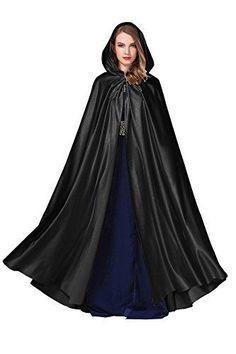 51aac9b9e7 Women s Black Hooded Cape Full Length Witch Cloak