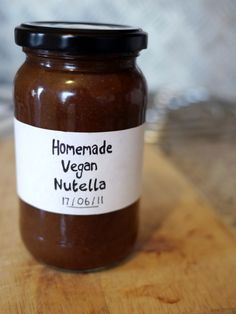Vegan Nutella.  A nice simple one, but could it benefit by a bit of hazelnut liquor?  Only one way to find out.  Groundnut oil, I'm sure, is peanut oil.  And vanilla essence must be extract.