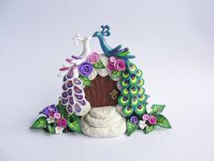 Wedding cake topper 2 peacocks sitting on fairytale by fizzyclaret, £40.76