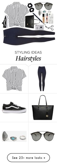 """""""Untitled #435"""" by maria143sara on Polyvore featuring Christian Dior, T By Alexander Wang, Vans, Michael Kors, Accessorize, Nikon, Topshop, Recover, Clinique and Guerlain"""