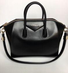 Authentic Givenchy Antigona Medium Black Glazed Leather Satchel w  Gold  Hardware  ad  givenchy b6e995e0ead10