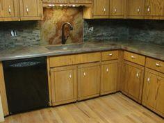 Concrete Countertop U0026 Stone Backsplash   Home Sweet Home   Pinterest    Countertop, Concrete And Cabin Chic