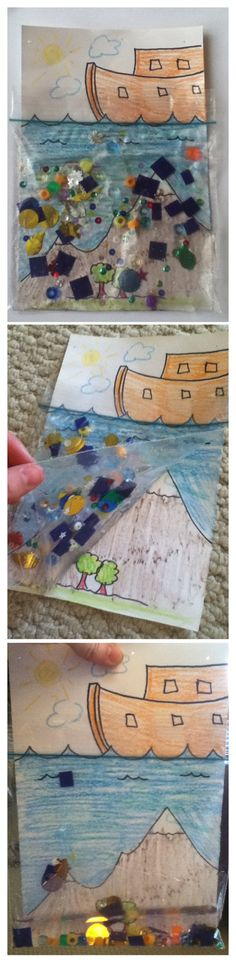Noah's Ark art craft. Just confetti, beads, pieces of blue paper, and water in a sandwich bag tapped over a drawing of the ark and the flood. The kids loved it!
