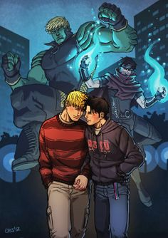 Wiccan and Hulkling hand in hand