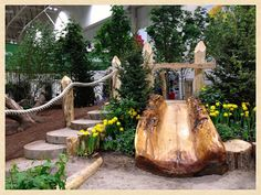 Natural Playground Idea:  toddler slide made from the polished half of a hollow log.  How much do I love this? SO much!