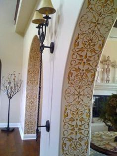 Painting Columns and Foyers - Intricate and Detailed Arabesque Border Stencils - Classic Border Stencils for Walls, Columns, and Ceilings - Royal Design Studio/ I have never thought of doing the inside of my curved entry way. Plafond Design, Interior Decorating, Interior Design, Budget Decorating, Decorating Kitchen, Design Interiors, Contemporary Interior, Kitchen Decor, Royal Design