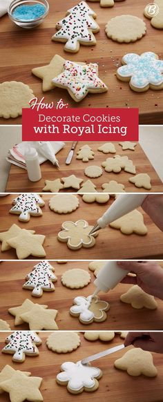 Cookies with Royal Icing The secret to perfectly decorated Christmas cookies? See how to glaze yours in a few simple steps.The secret to perfectly decorated Christmas cookies? See how to glaze yours in a few simple steps. Cookies Cupcake, Cookie Desserts, Holiday Cookies, Holiday Treats, Sugar Cookies, Santa Cookies, Baking Cookies, Easy Desserts, Dessert Recipes