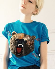 Grizzly bear embroidered tee by TessaPerlowInc on Etsy