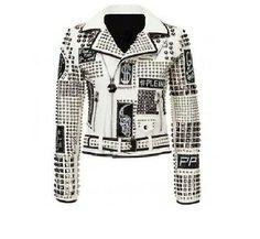 New White Philipp Punk Style Women's Full Studded Patches Real Leather Jacket Studded Leather Jacket, Leather Men, Leather Jackets, Cowhide Leather, Biker Leather, Real Leather, Punk Fashion, Womens Fashion, Style Fashion