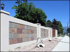 Recent developments in form liner technology have refined the Precast concrete wall process to include very intricate details formed into the concrete panel. Concrete Fence Wall, Concrete Block Walls, Cinder Block Walls, Brick Fence, Precast Concrete, Painting Concrete Walls, Fence Painting, Glass Fence, Fence Stain