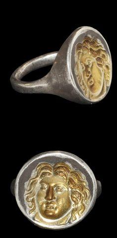 Greek Silver-Gilt Apollo Ring, 6th-4th century B.C.