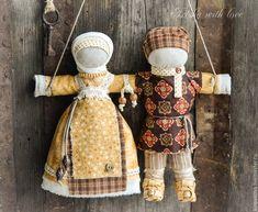 """Купить кукла-оберег Неразлучники """"Медовый май"""". - оранжевый, народная кукла, народная традиция"""