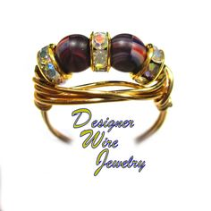 Only 14.99 DWJ0622 Lovely Rhythm and Blues Czech Art Glass Duet Gold Plated Wire Wrap Ring All Sizes